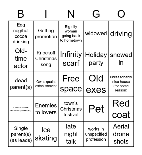 Hallmark/Lifetime Christmas Card Bingo Card