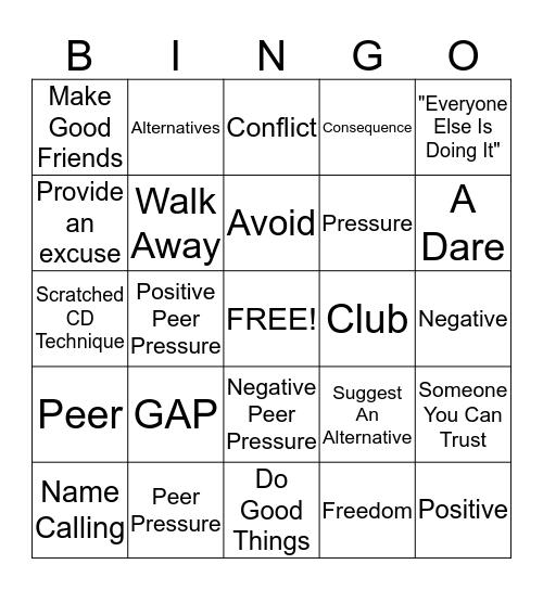 Peer Pressure Bingo Card