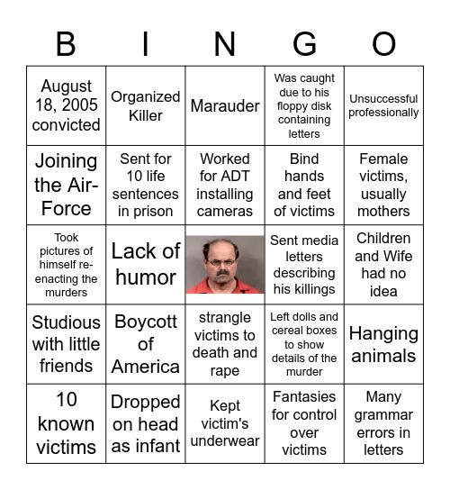 Serial Killer Bingo Card