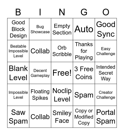 Recent Tab Bingo Geometry Dash Bingo Card