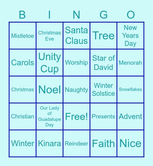 December Holidays Bingo Card