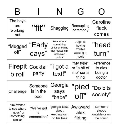 love island bingo Card