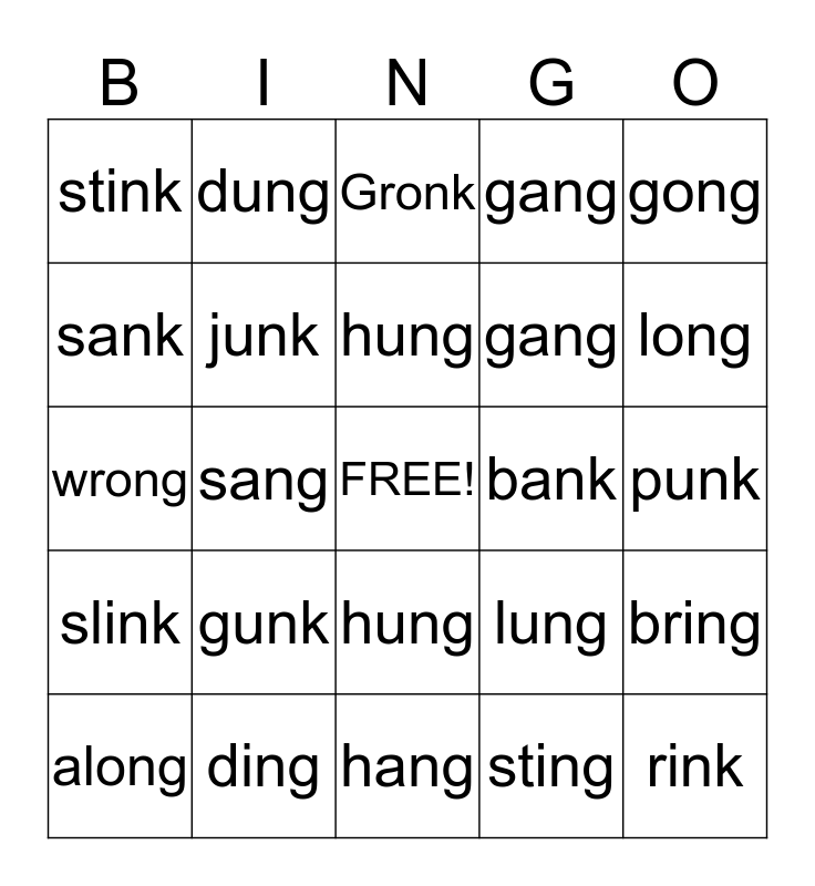 GLUED SOUND BINGO Card