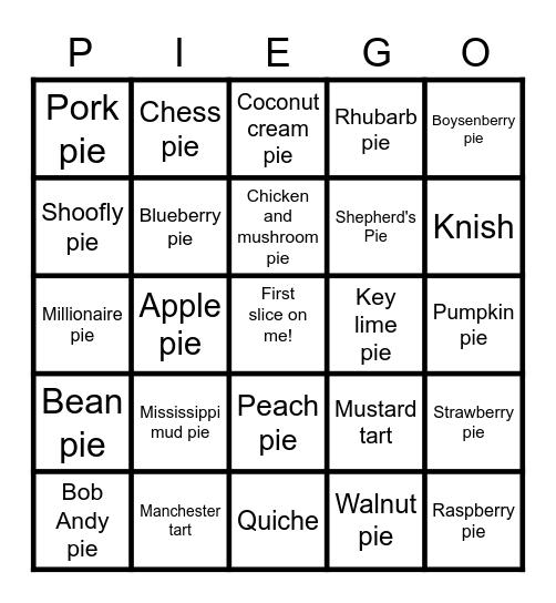 PIEGO!!!! Bingo Card