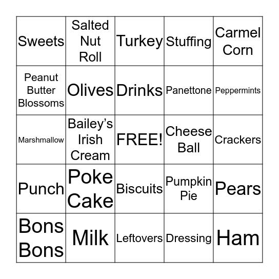 Christmas Eats Bingo Card