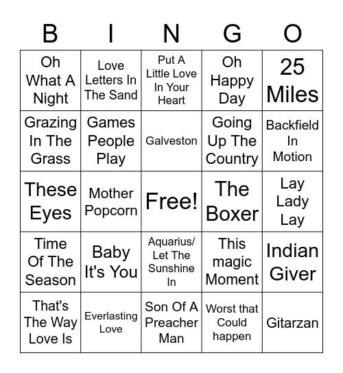 60's Hits Bingo Card