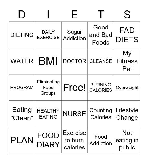 Nutrition & Diet Culture Bingo Card