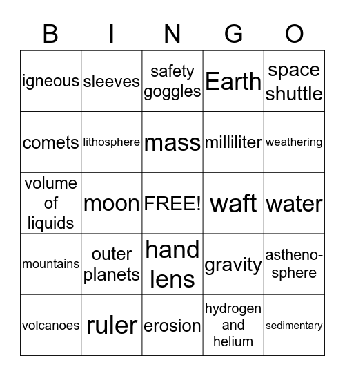 Semester Review Bingo Card