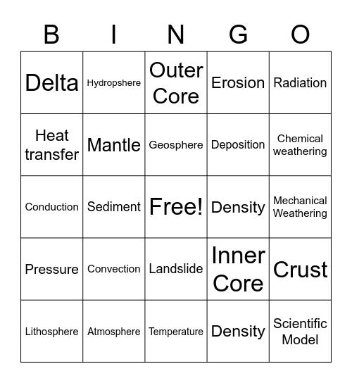 Earth's Interior Vocab Bingo Card