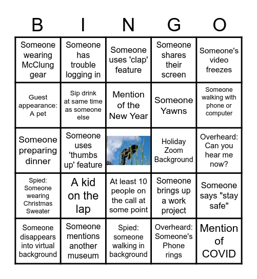 McClung Holiday Party Bingo Card