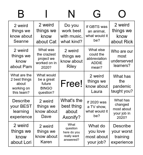 Our Team Bingo Card