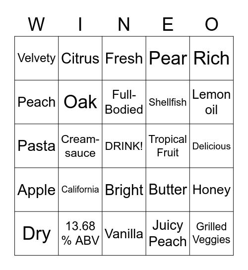 Josh Chardonnay Bingo Card