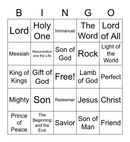 Names of Jesus Bingo Card