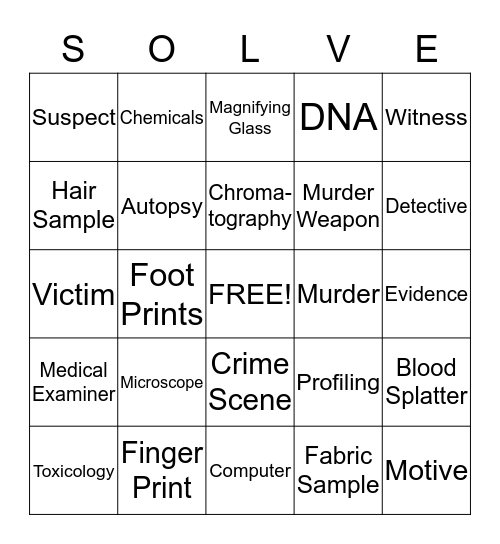 Solve the Crime Bingo Card