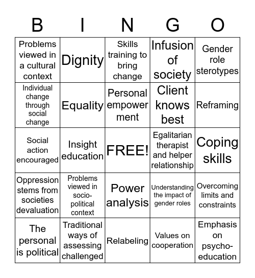 Feminist Therapy Key Concepts Bingo Card