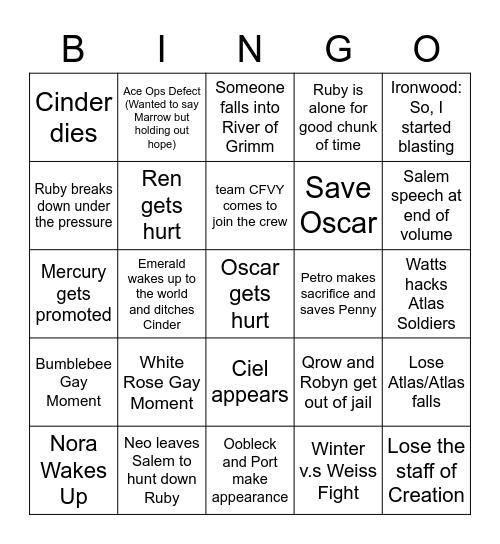 RWBY Vol 8 Ep5--> Predictions Bingo Card