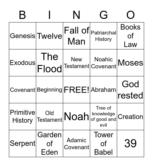 Bible Basics - Old Testament Bingo Card