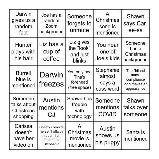 Compliance Christmas Bingo Card