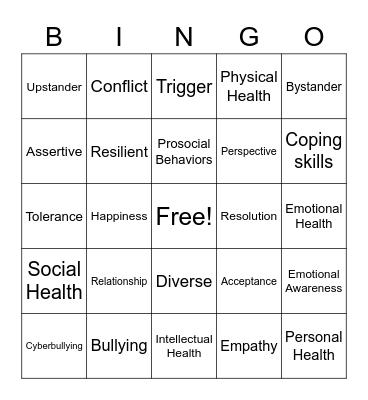 7th Grade Health PR Bingo Card