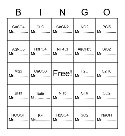Relative Molecular Mass Bingo Card