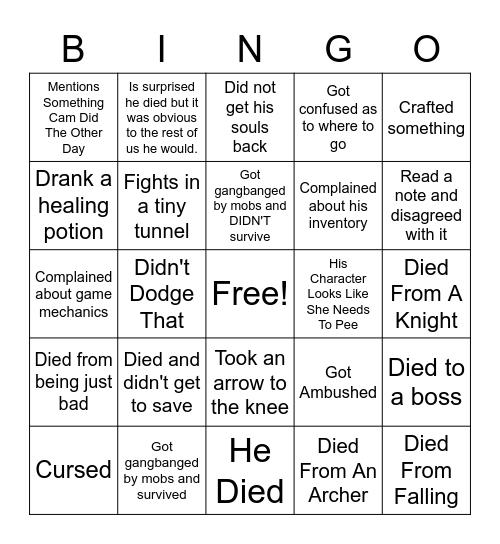 Zach's Demon Souls Bingo Card
