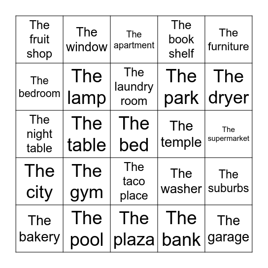 House and Community Review Bingo Card