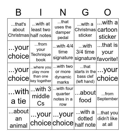 Christmas Break Piano Bingo Card