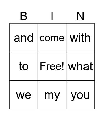sounds Bingo Card