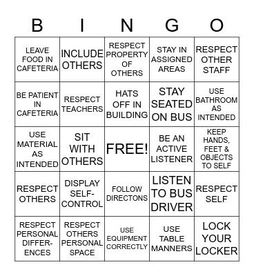 RESPECT Bingo Card