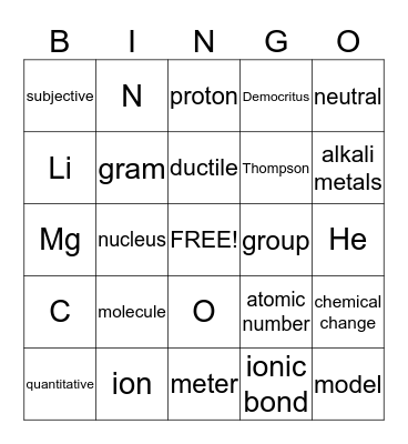 Chemistry Review Bingo Card