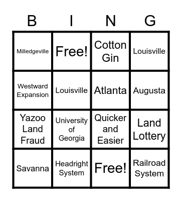 Capital Cities, Technology, and Land Policies Bingo Card