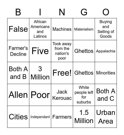 SPES Problems In a Time of Plenty Bingo Card
