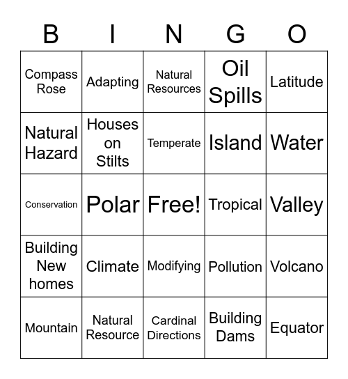 Physical Geography and Environment Bingo Card