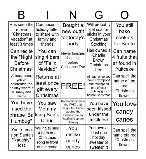 HAPPY HOLIDAYS Bingo Card