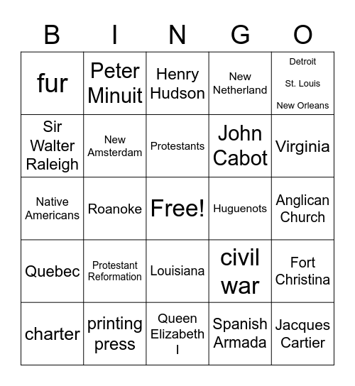 Chapter 2 Section 4 Bingo Card