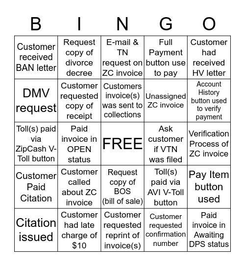 VPS Bingo Card