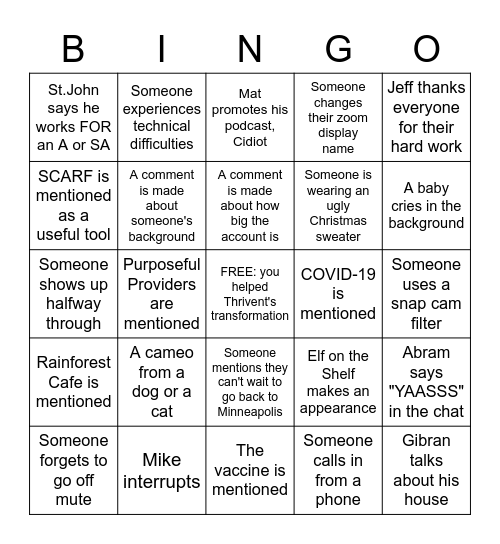 Thrivent EOY Celebration Bingo Card