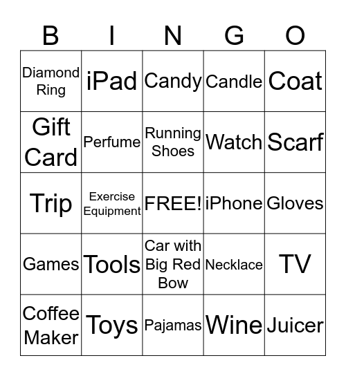 HOLIDAY GIFTS BINGO Card