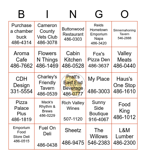 Cameron County Support Our Businesses Bingo Card