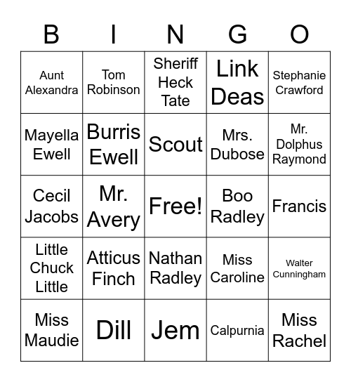To Kill a Mockingbird Characters Bingo Card