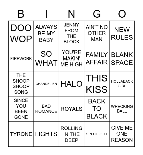 DIVAS Bingo Card