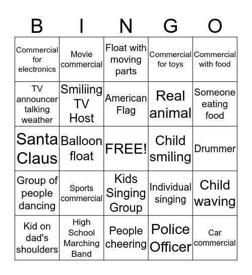 Thanksgiving Day Parade Bingo Card