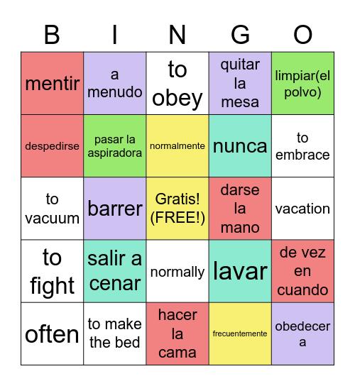 Spanish Vocab page 113 Bingo Card