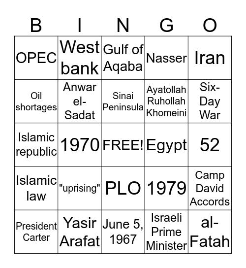 Middle East Bingo Card
