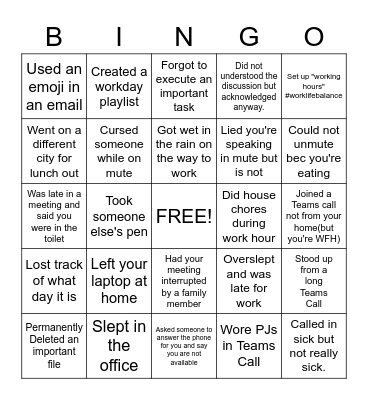 OFFICE Bingo Card