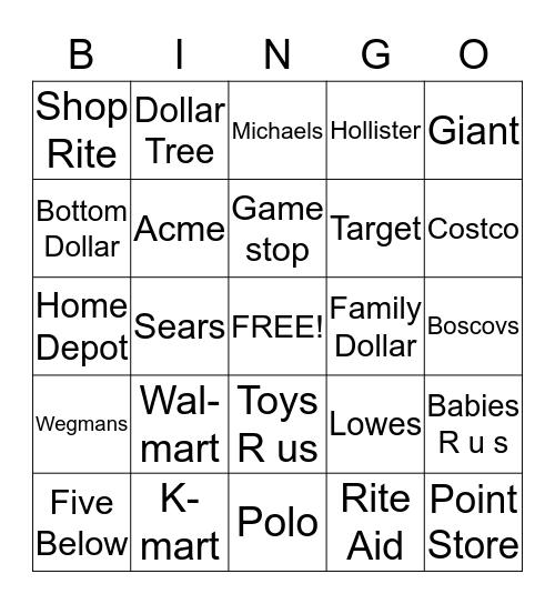 Stores Bingo Card