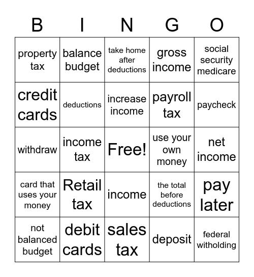 Financial Vocabulary Words Bingo Card