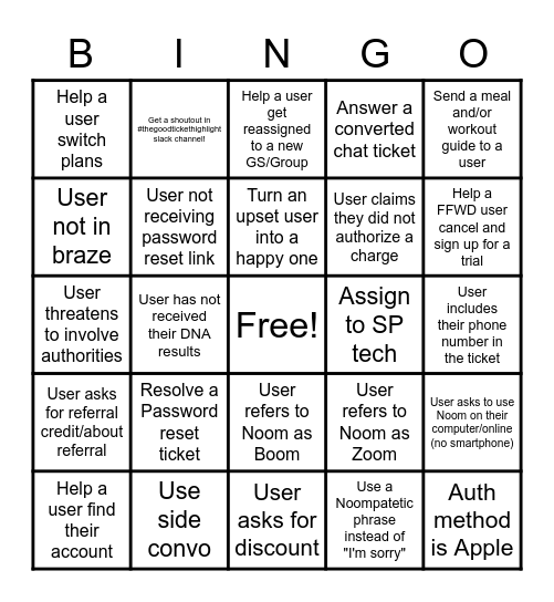 Noom Support Bingo Card