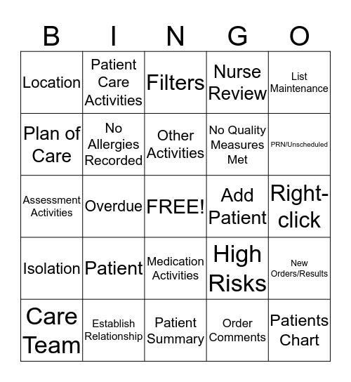 CareCompass Bingo Card
