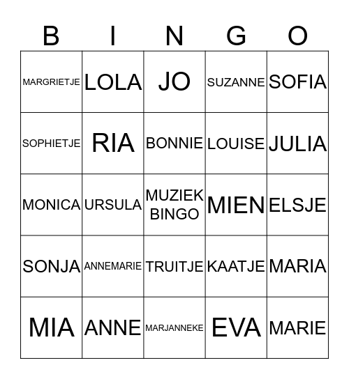 MUZIEKBINGO MET MEISJESNAMEN Bingo Card